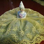 "German Miniature ""Bride"" Pincushion/Half Doll with Lace Dress"