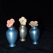 Early 1950's Aluminum Vases full of Flowers