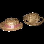 2 Vintage Wicker Hats
