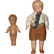 Pair of German Miniature Dollhouse Celluloid Dolls Kewpie and Boy