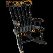 Vintage, Black Lacquer, Hand Painted, Pennsylvania Dutch, Chair