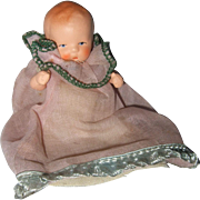 German Painted Bisque Miniature Baby Doll