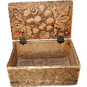 Folk Art, Wood Burnt, Small, Wood Box