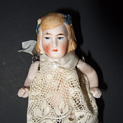 German All Bisque Miniature Doll House Doll