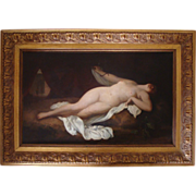 """SOLD Large antique oil on canvas """" Nude with snake"""" Fernand Sabbatte circa 1900"""
