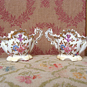REDUCED Nice pair of french antique china vases for dolls.