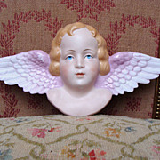 REDUCED Wonderful and big antique french bisque angel circa 1900