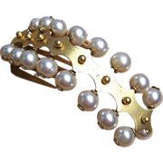 SOLD Antique Hair Comb Victorian Gilt Metal and Faux Pearl Balls Hair Accessory - Red Tag Sale