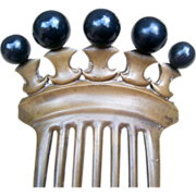 SOLD Antique Hair Comb Victorian Vulcanite Mourning Hair Accessory