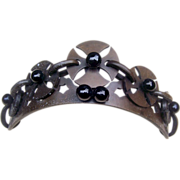 Antique Hair Comb Victorian Vulcanite Mourning Tiara Style Hair Accessory
