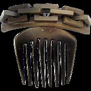 Victorian Vulcanite Hair Comb Hinged Chain Link Design Hair Accessory