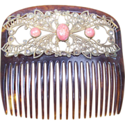 Victorian Hair Comb Gilt Metal and Pink Glass Cabochons Hair Accessory