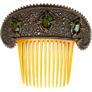 Victorian Hair Comb Antiqued Gilt Metal and Green Glass Stones Hair Accessory