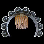 Victorian Hair Comb Hinged Big Balls Faux Tortoiseshell Tiara Hair Accessory