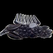 "SOLD RESERVED FOR ""TARJA"" - Victorian Mourning Hair Comb Black Vulcanite Flower Spra"