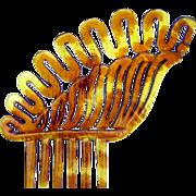 Victorian Hair Comb Asymmetric Steer Horn Hair Accessory