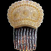 SOLD Georgian Hair Comb Spanish Mantilla Style Gilt Filigree and Tortoiseshell Hair Accessory