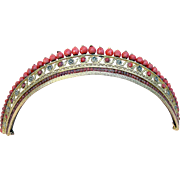 SOLD Regency Tiara Gilt Metal with Faceted Coral Beads Hair Accessory