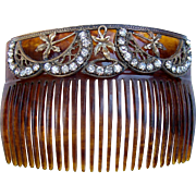 Late Victorian Faux Tortoiseshell Back Comb with Rhinestone Trim Hair Accessory