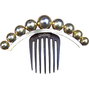 Victorian Hinged Coronet Hair Comb with Brass Balls Hair Accessory