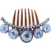 Victorian Hinged Coronet Hair Comb with Crystal Roundels Hair Accessory
