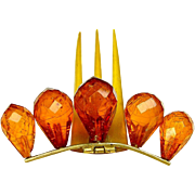 Late Victorian Hair Comb Hinged and Faceted Amber Glass Hair Accessory