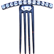 Late Victorian Hinged Hair Comb Set With Crystals Hair Accessory