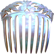 Mother of Pearl Hair Comb with Carved and Pierced Foliate Decoration Hair Accessory
