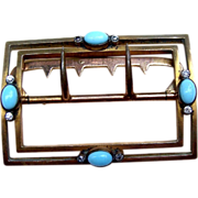 Victorian belt buckle gold tone metal with faux turquoise