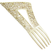 Art Deco French ivory hair comb tall asymmetric openwork hair accessory