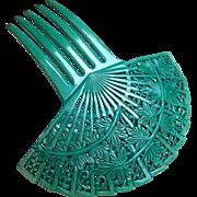 Spanish style hair comb Art Deco green celluloid fan shape hair accessory