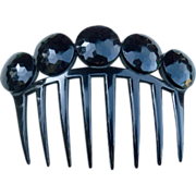 Auguste Bonaz Signed Hair Comb in Black Celluloid with French Jet Roundels Hair Accessory