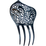 Art Deco Hair Comb Spanish Style Lacy Black Celluloid Openwork Hair Accessory