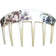 Auguste Bonaz Hair Comb Japonaiserie French Ivory Signed Hair Accessory