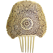 French Ivory Hair Comb Large Spanish Mantilla Style Hair Accessory