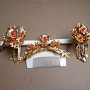 SOLD Vintage Japanese Hair Comb and Hairpin Set Geisha Kanzashi Faux Coral Gold tone