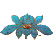 Chinese Kingfisher Feather Hair Pin with Lotus Flower Hair Comb Hair Accessory or Dress Orname