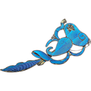 Chinese Kingfisher Feather Hair Pin with Figural Lobster Hair Comb Hair Accessory or Dress Orn