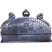 SOLD Indian Perfume Comb or Beard Comb, Silver, Rajasthan 19th Century