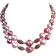 Vintage multi strand necklace signed Japan pink faux pearls (ABU)