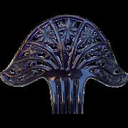 Art Deco Hair Comb Black Celluloid Spanish Hair Accessory
