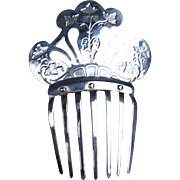 Polished Steel Plated Hair Comb Victorian Pierced Repousee Spanish Mantilla Style Hair Accesso