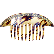Toledo or Damascene Work Hair Comb in Faux Tortoiseshell Celluloid Hair Accessory