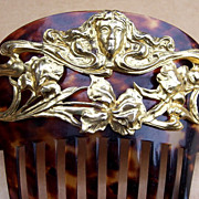 SOLD RESERVED FOR RACHEL - Art Nouveau Hair Comb Faux Tortoiseshell and Gilt Metal Figural