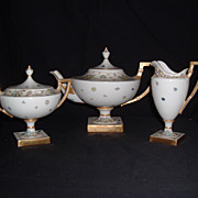 SALE Gorgeous Belleek Lenox Hand-Painted Gilded Pedestal Teapot, Creamer, & Sugar, C. 1906