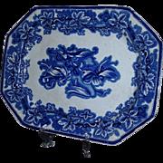 Exquisite George Phillips Flow Blue Ironstone Lobelia Platter, C. 1845