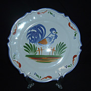French Faience Hand-Painted Roullet Renoleau Plate