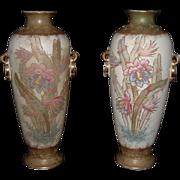 Exquisite Pair Of Royal Bonn Vase Franz Anton Mehlem Hand-Painted Vases, C. 1890