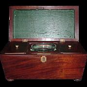 Early Regency Mahogany Sarcophagus Double Tea Caddy, C. 1830