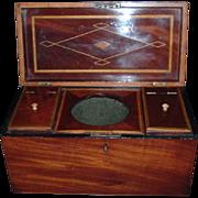 Stunning Large Georgian Double Inlaid Mahogany Tea Caddy, C 1810